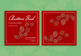 Christmas Party Invitation with Foliage on Red Background