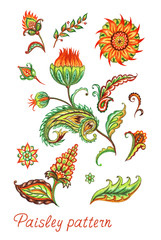 A set of paisley, abstract flowers and leaves. Decorative ornament in oriental style, watercolor painting on white background.