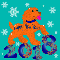 Illustration postcard, Orange Dog, Symbol of the Year, inscription 2018, cartoon