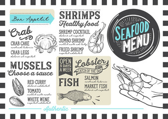 Seafood menu restaurant, food template.