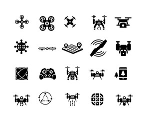 Drone isolated flat vector icons set