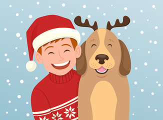 Christmas portrait of a boy with his dog. The boy is wearing a christmas hat and the dog wears a diadem with reindeer horns. Vector illustration.