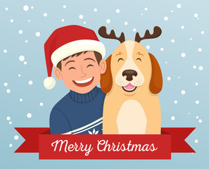 Christmas greeting card of a boy with his dog. The boy is wearing a christmas hat and the dog wears a diadem with reindeer horns. Vector illustration.