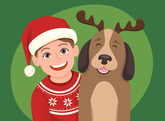 Christmas portrait of a girl with his dog. The girl is wearing a Santa Claus hat and the dog is wearing a diadem with reindeer horns. Vector illustration.