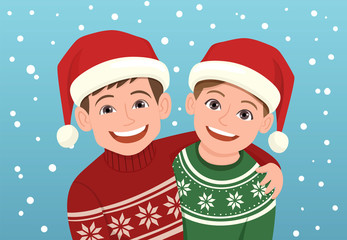 Christmas portrait of a couple of smiley kids wearing a Santa Claus hat. Vector illustration.