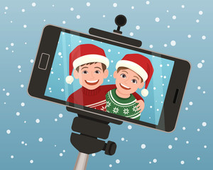 Selfie capture taken with a smartphone of two smiley kids wearing a Santa Claus hat. Vector illustration.
