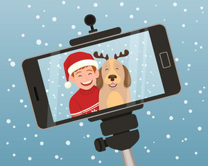 Smartphone christmas portrait of a boy with his dog. The boy is wearing a christmas hat and the dog wears a diadem with reindeer horns. Vector illustration.