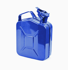 Blue jerrycan on white background. Canister for gasoline, diesel gas.