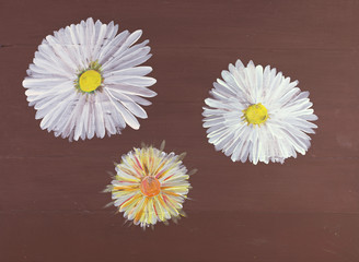 Hand Painted Wood Panel Decorated With Three Daisies