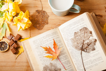 Autumn composition with cup coffee