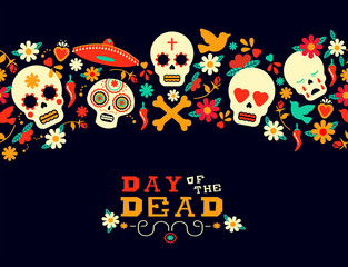 Day of the dead flower sugar skull background