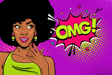Wow female face. Sexy surprised young african woman with open smile and afro style curly hair and OMG! speech bubble. Vector bright background in pop art retro comic style. Party invitation poster.