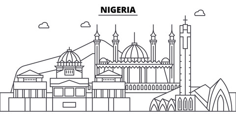 Nigeria architecture skyline: buildings, silhouette, outline landscape, landmarks. Editable strokes. Flat design line banner, vector illustration concept.