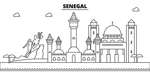 Senegal architecture skyline: buildings, silhouette, outline landscape, landmarks. Editable strokes. Flat design line banner, vector illustration concept.