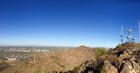 West side of Valley of the Sun looking at Glendale, Peoria and Phoenix from North Mountain Park, Arizona