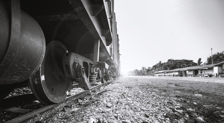 The train is slowly moving on the railway for transportation