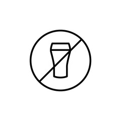 Premium no alcohol icon or logo in line style.