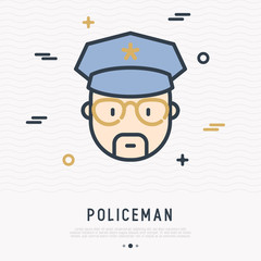 Cartoon policeman in glasses and cap thin line icon. Modern vector illustration.