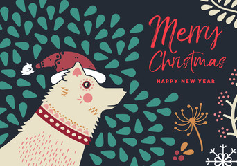 Christmas and new year holiday dog greeting card