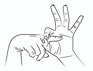Strichzeichnung – Handzeichen Ficken