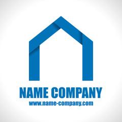 logo constructeur maison artisan construction bleu