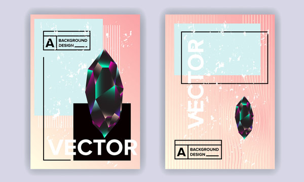Crystal shapes poster covers set with modern hipster and memphis background colors. Vector templates for placards, banners, presentations and reports.