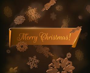 Golden Merry Christmas vector background. Vector eps10.