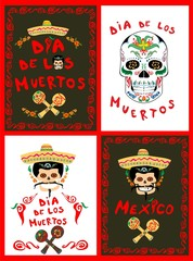 Posters collection on Day of the dead with mexican sugar skull, sombrero, mariachi and maracas