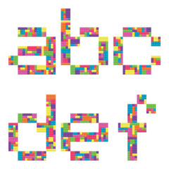 A, b, c, d, e, f alphabet lowercase letters from children building block icon set
