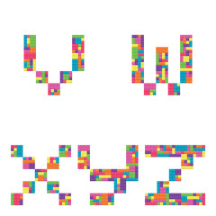 V, w, x, y, z alphabet lowercase letters from children building block icon set