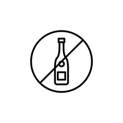 Premium no alcohol icon or logo in line style.