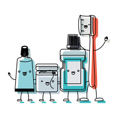 toothpaste and dental floss and mouthwash and toothbrush in cartoon holding hands in watercolor silhouette