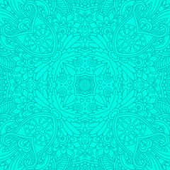 Turquoise decorative seamless pattern.