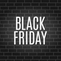 Black Friday Sale Neon Light on Brick Wall. Vector illustration