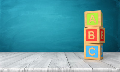 3d rendering of a three toy blocks standing on a wooden desk in one tower with letters A, B and C on them.