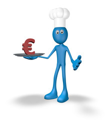 cook and plate with euro symbol - 3d rendering