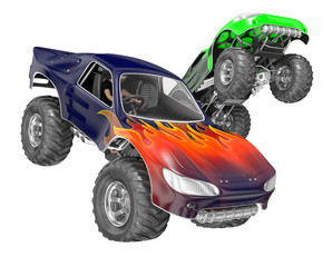 Sports monster truck jumping. 3d image isolated on white.