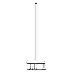 broom with wooden stick in monochrome silhouette