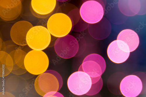 Christmas Lights Pink And Yellow Bokeh Of Background