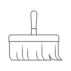 hand broom with wooden stick in monochrome silhouette