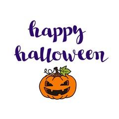 lettering Happy Halloween. Happy Halloween Card.  Pumpkin