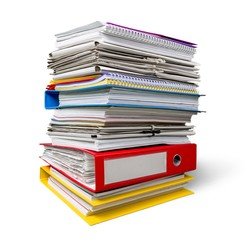 Stack of papers isolated on  background