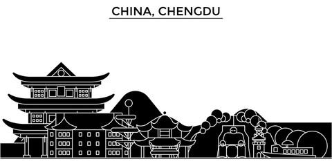 China, Chengdu architecture skyline, buildings, silhouette, outline landscape, landmarks. Editable strokes. Flat design line banner, vector illustration concept.