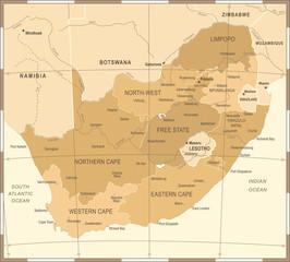 South Africa Map - Vintage Vector Illustration