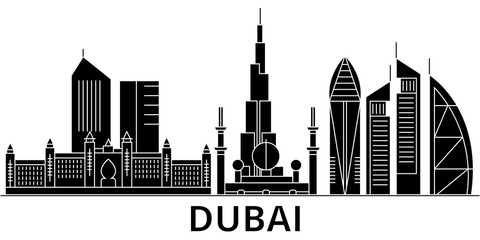 Dubai architecture skyline, buildings, silhouette, outline landscape, landmarks. Editable strokes. Flat design line banner, vector illustration concept.