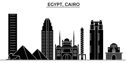 Egypt, Cairo architecture skyline, buildings, silhouette, outline landscape, landmarks. Editable strokes. Flat design line banner, vector illustration concept.