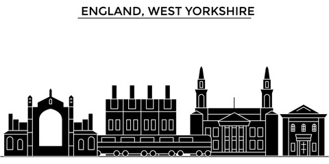 England, West Yorkshire architecture skyline, buildings, silhouette, outline landscape, landmarks. Editable strokes. Flat design line banner, vector illustration concept.