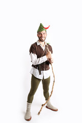 Man dressed up as robin Hood for Halloween