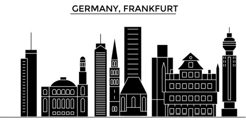 Germany, Frankfurt architecture skyline, buildings, silhouette, outline landscape, landmarks. Editable strokes. Flat design line banner, vector illustration concept.