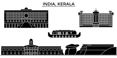 India, Kerala architecture skyline, buildings, silhouette, outline landscape, landmarks. Editable strokes. Flat design line banner, vector illustration concept.
